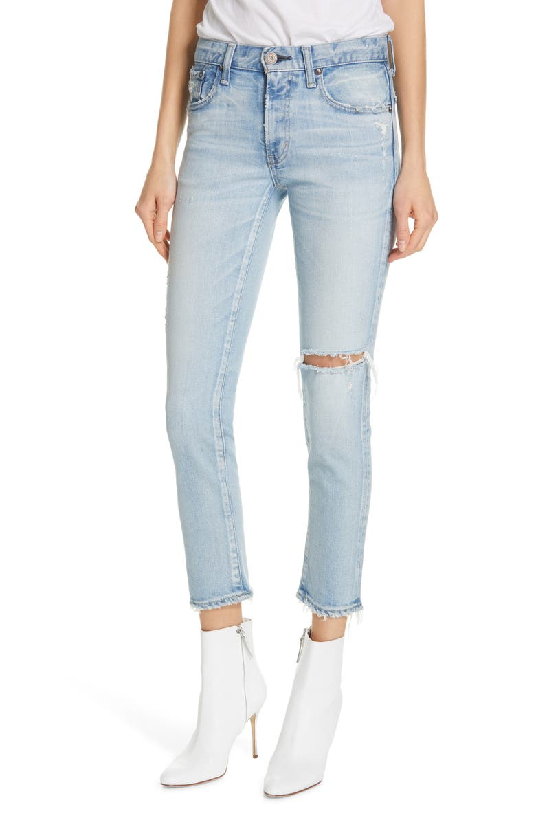 MOUSSY VINTAGE Vivian Ripped Crop Skinny Jeans, Main, color, LIGHT BLUE