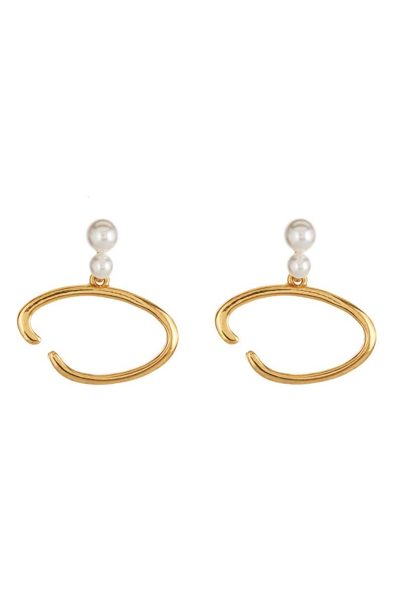 OSCAR DE LA RENTA O Logo Imitation Pearl Earrings, Main, color, GOLD