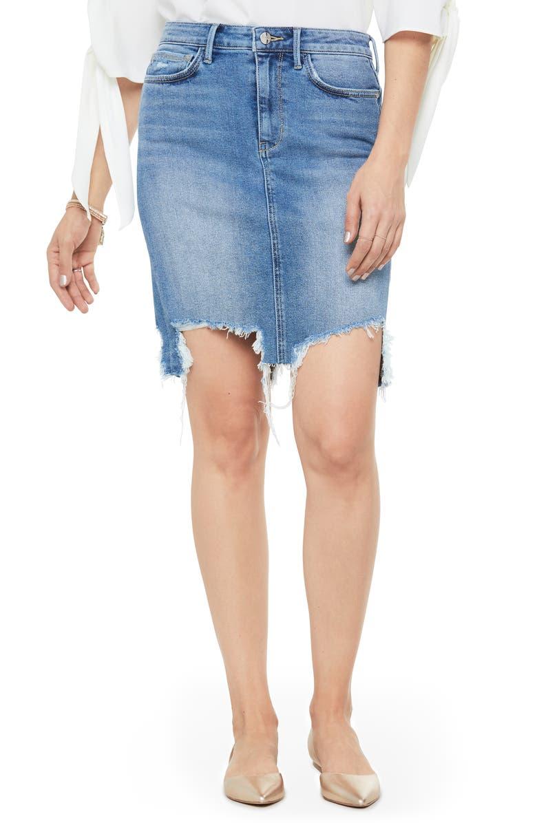 SAM EDELMAN Riley Destroyed Denim Skirt, Main, color, JAMEEL