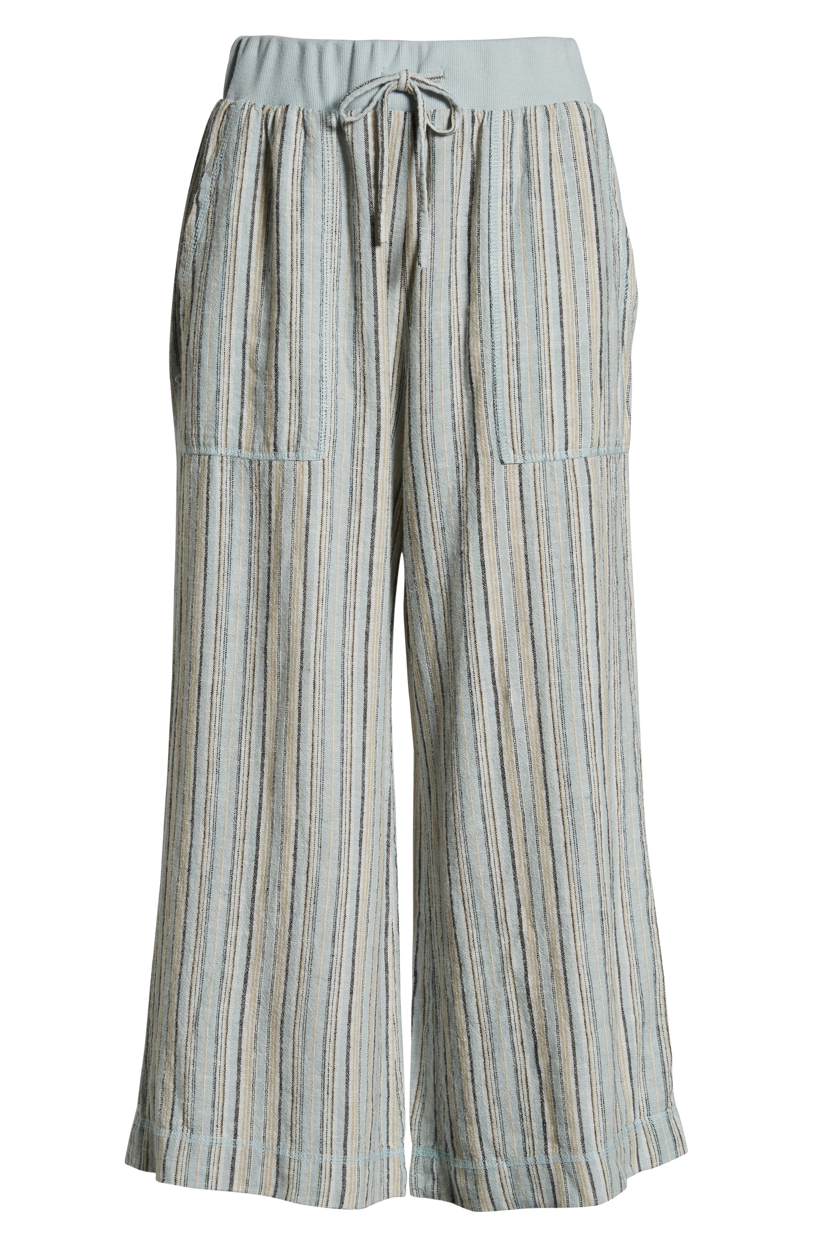 ,                             Stripe Crop Linen Blend Pants,                             Alternate thumbnail 9, color,                             450