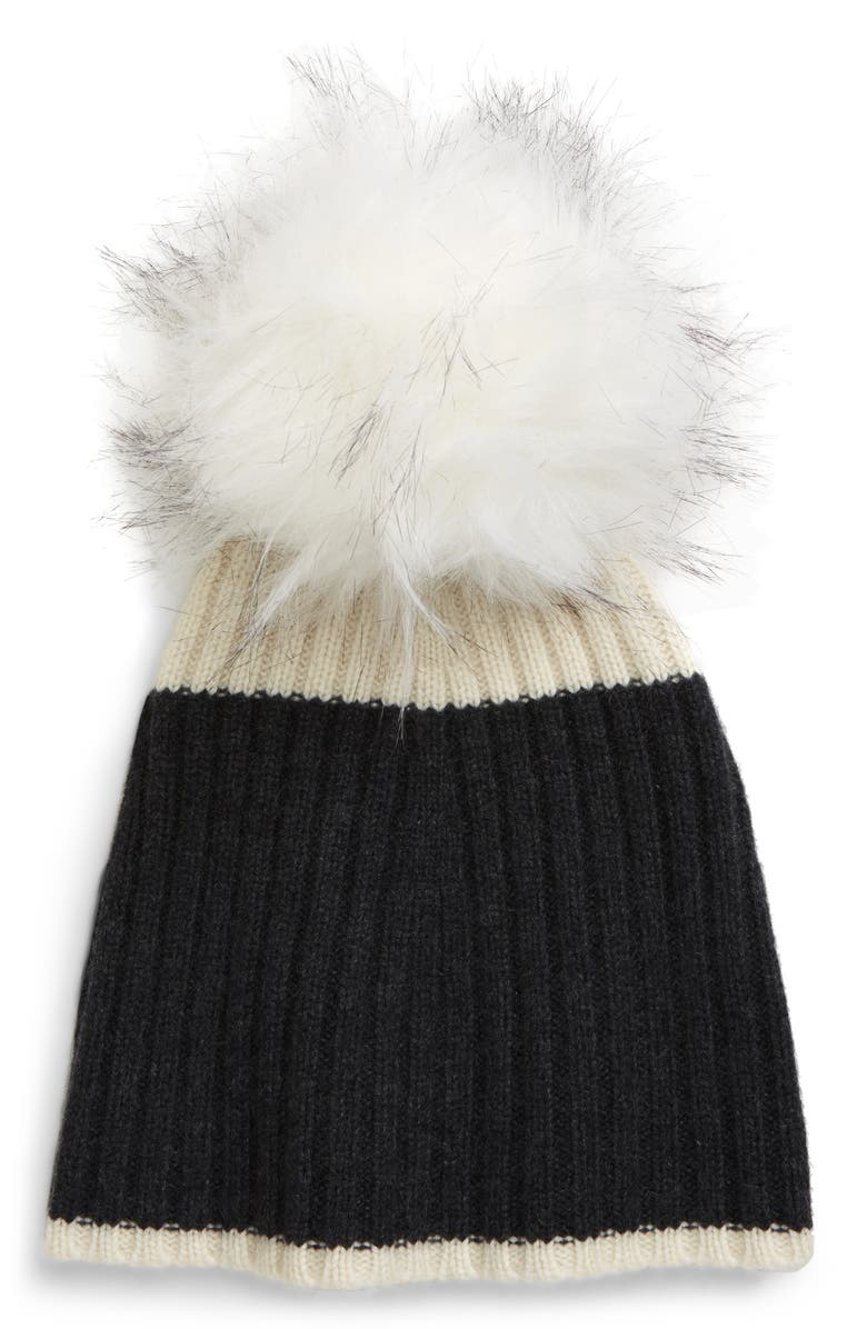 HALOGEN<SUP>®</SUP> Colorblock Cashmere Beanie, Main, color, GREY CHARCOAL HEATHER COMBO