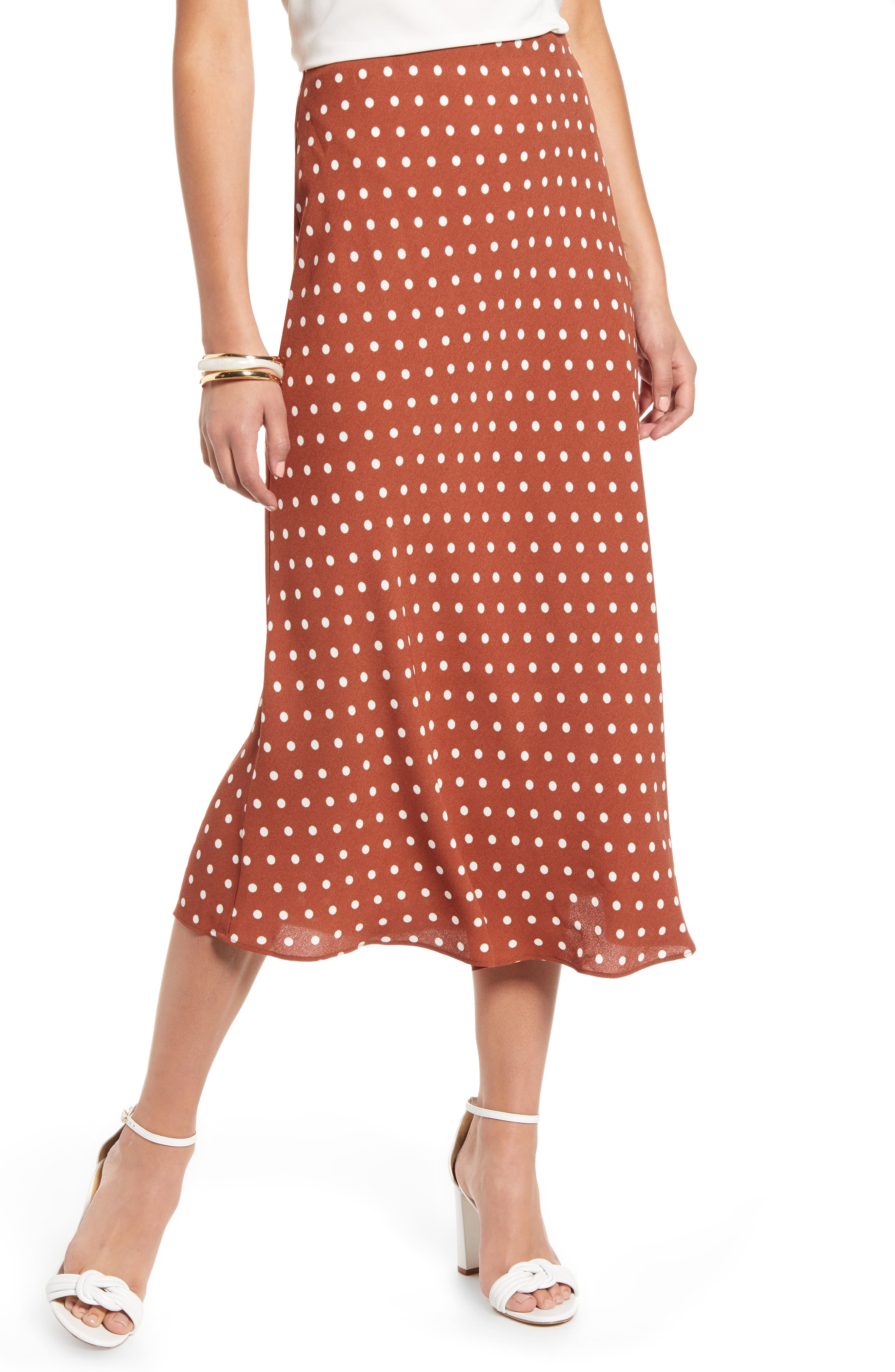 Halogen® Bias Cut A-Line Skirt (Regular & Petite)
