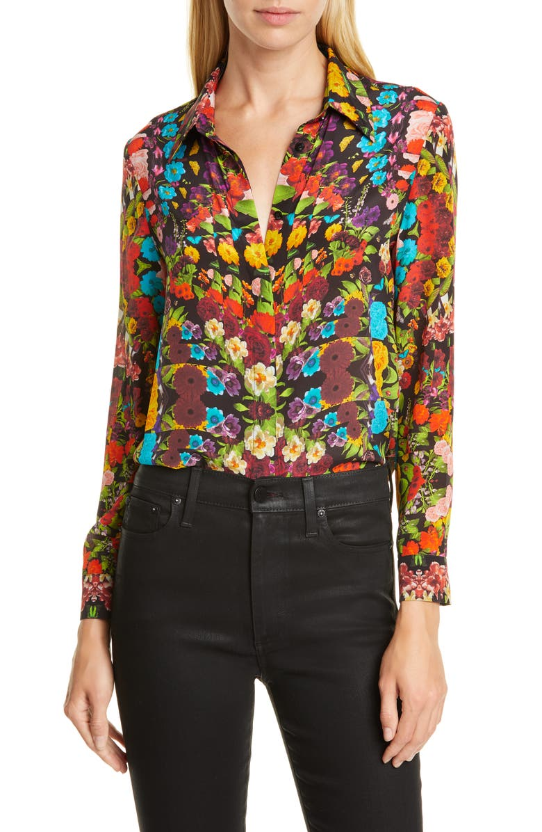 ALICE + OLIVIA Willa Floral Pleated Placket Silk Blouse, Main, color, KALEIDOSCOPE FLORAL