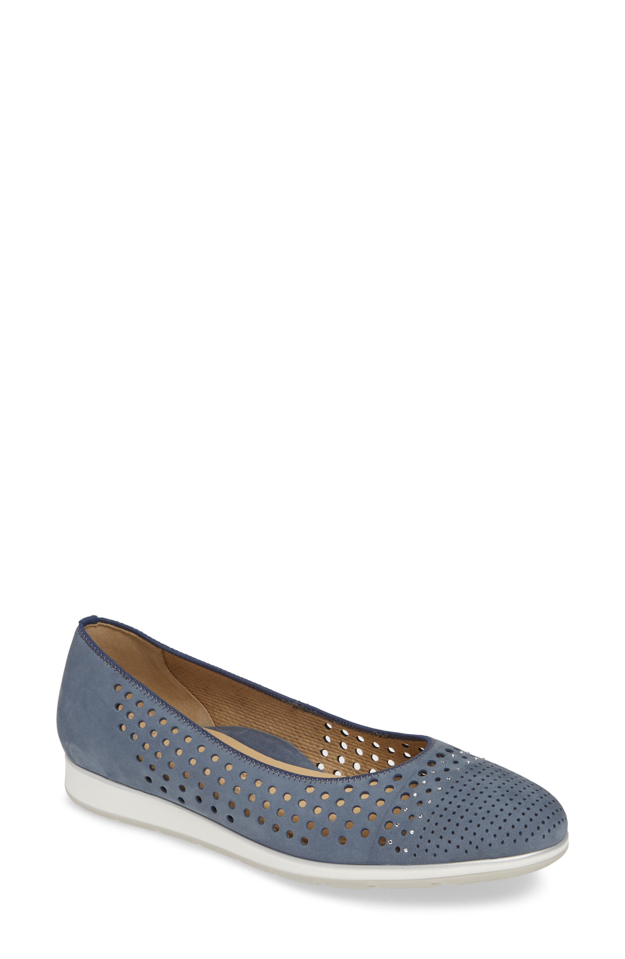 A perforated upper adds breathability and sophistication to a crystal-studded flat grounded by a signature cushioned footbed. Style Name: Ara Shea Flat (Women). Style Number: 5818799. Available in stores.