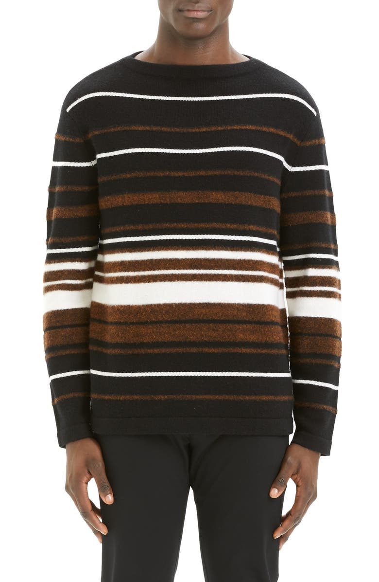THEORY Hilles Stripe Regular Fit Cashmere Sweater, Main, color, CAMEL MULTI