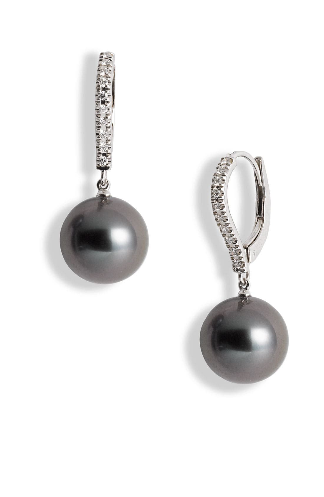 Diamond & Black South Sea Cultured Pearl Earrings