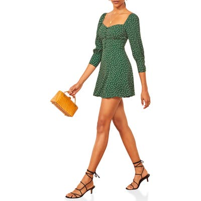 Reformation Lumiere Dot Print Button Front Minidress, Green