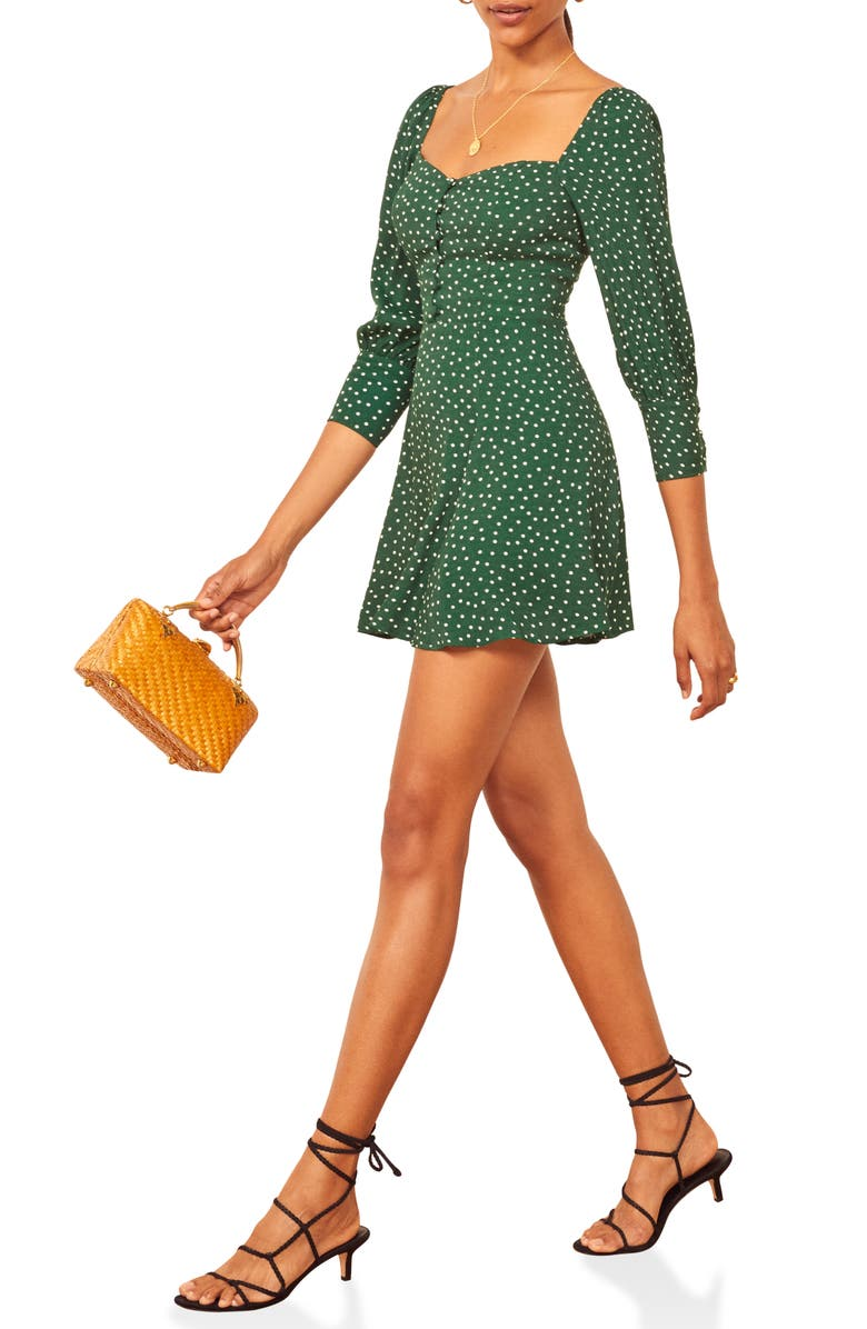 REFORMATION Lumiere Dot Print Button Front Minidress, Main, color, ROSEMARY