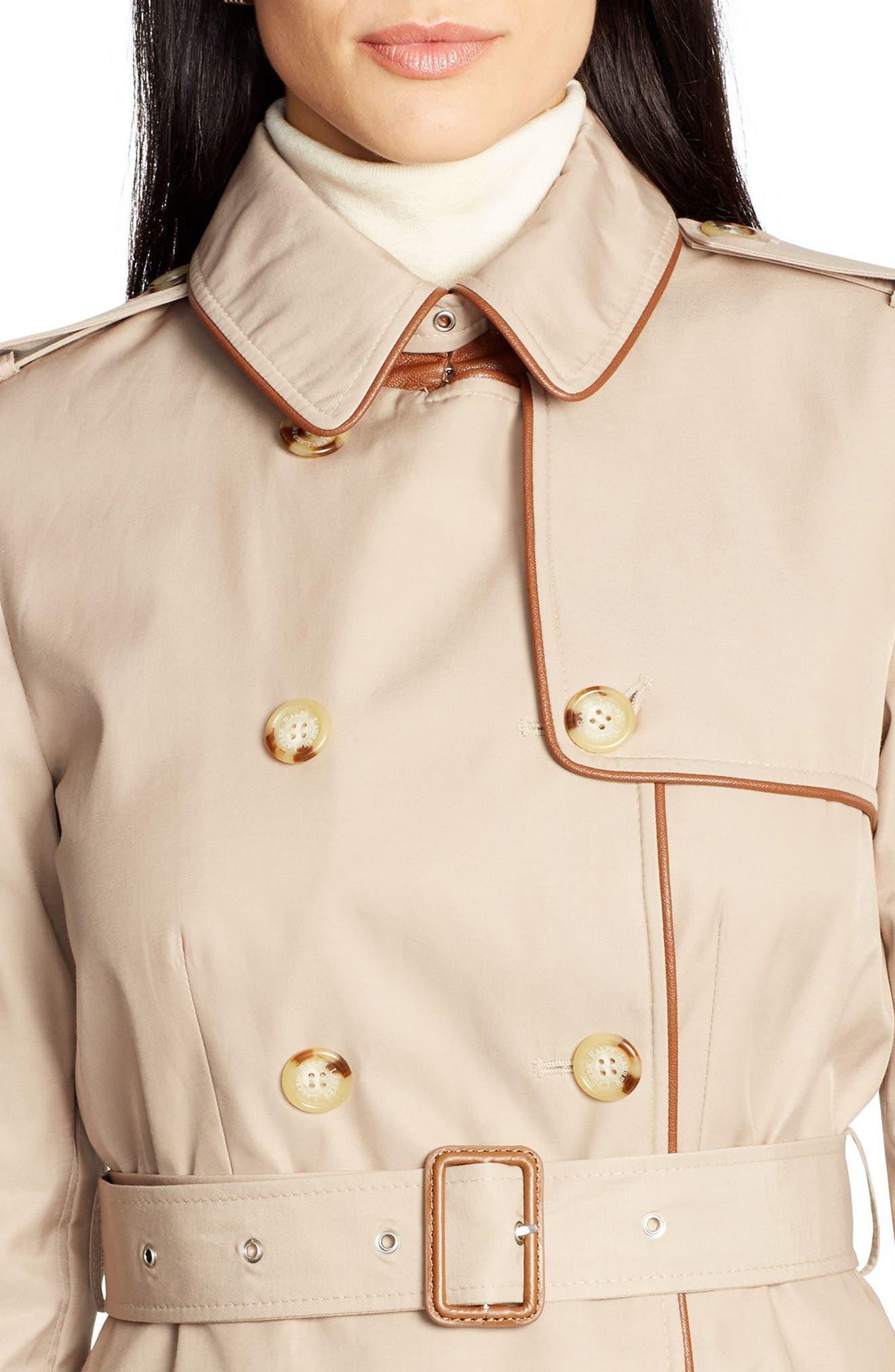 ,                             Faux Leather Trim Trench Coat,                             Alternate thumbnail 26, color,                             251