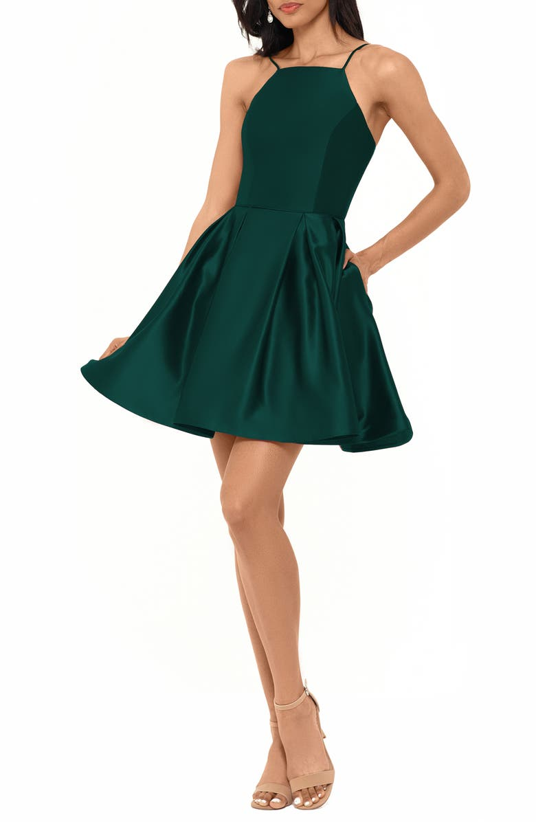 BETSY & ADAM Satin Party Dress, Main, color, EMERALD