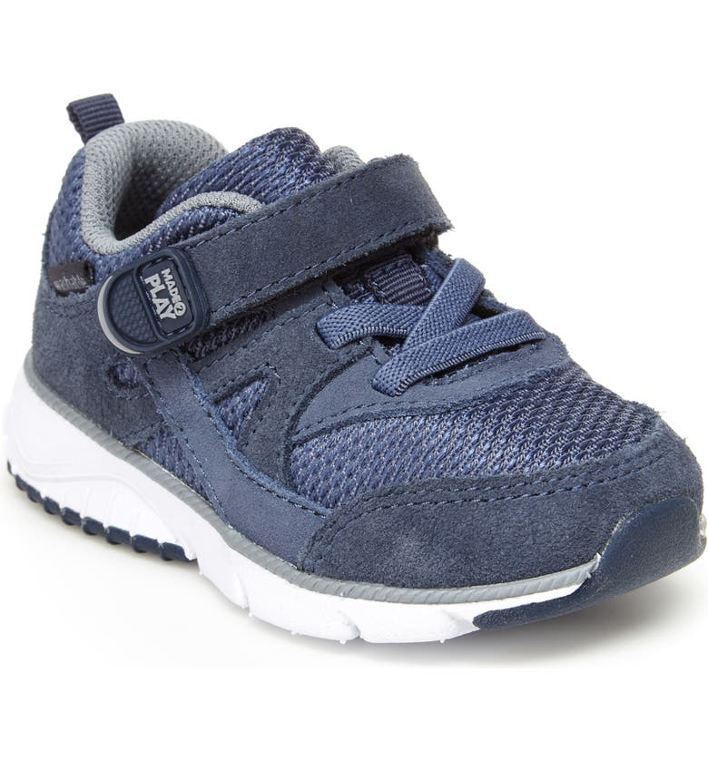 STRIDE RITE M2P Ace Sneaker, Main, color, NAVY LEATHER/ SUEDE
