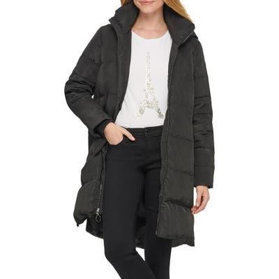Karl Lagerfeld Paris Wedge Puffer Coat, Black