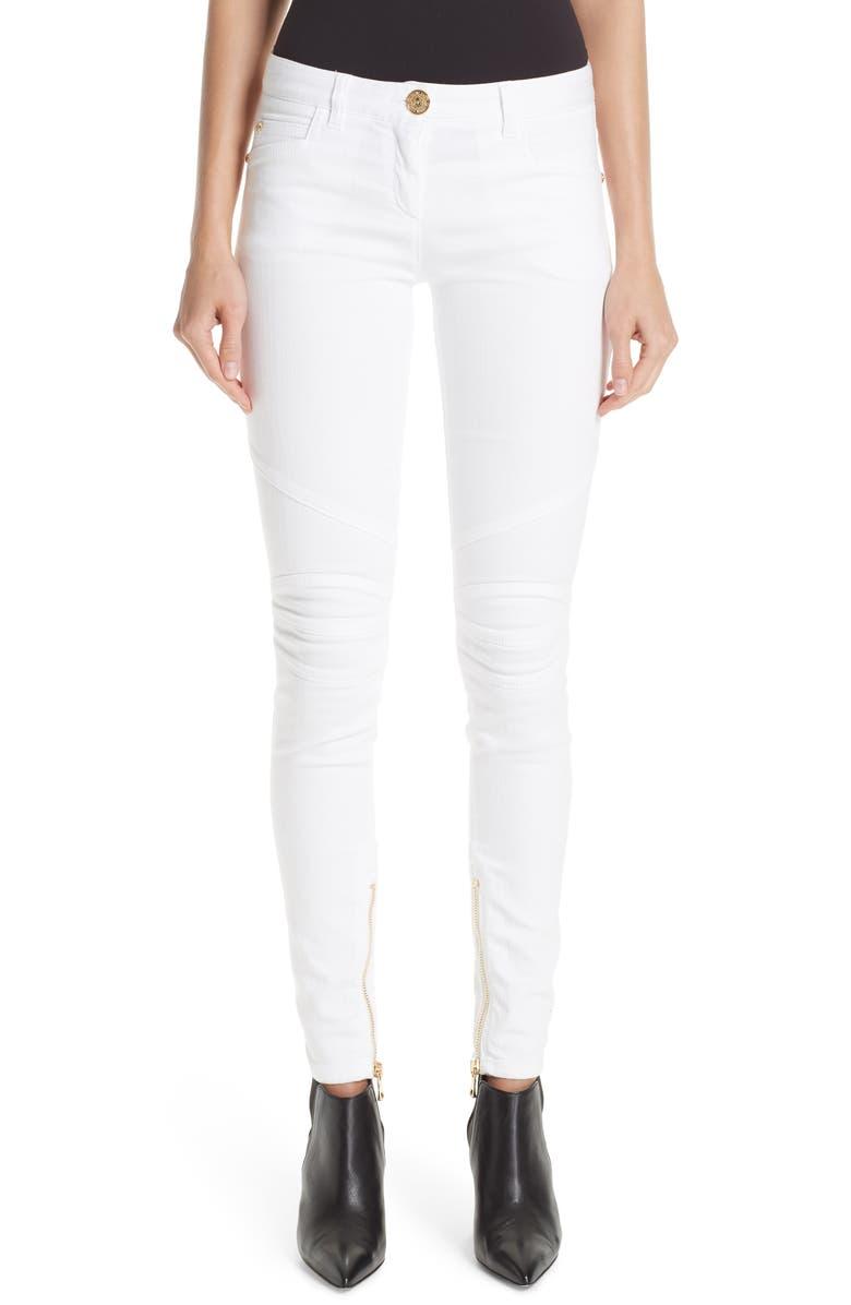BALMAIN Skinny Moto Jeans, Main, color, WHITE