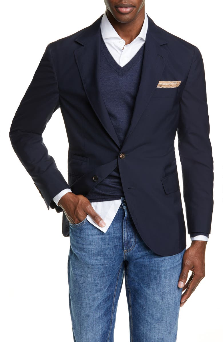 BRUNELLO CUCINELLI Trim Fit Solid Wool & Silk Travel Blazer, Main, color, NAVY