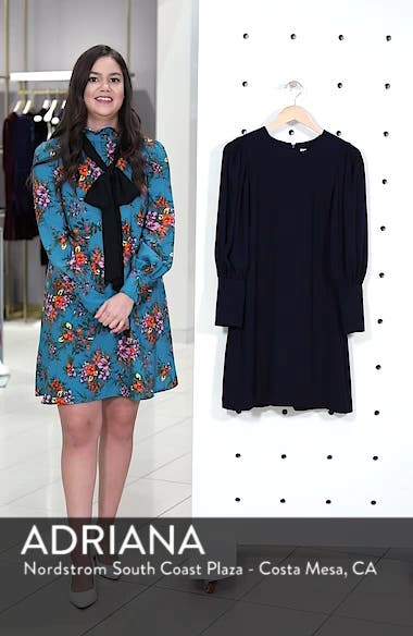 Balloon Sleeve Crepe Shift Dress, sales video thumbnail