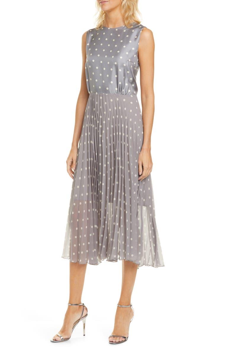 SEVENTY Polka Dot Sleeveless Silk Dress, Main, color, SCURO GREY