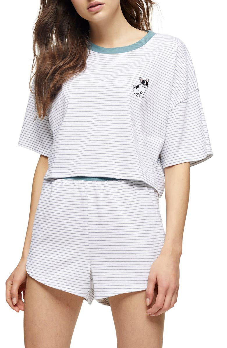 TOPSHOP Frenchie Stripe Short Pajamas, Main, color, TEAL MULTI