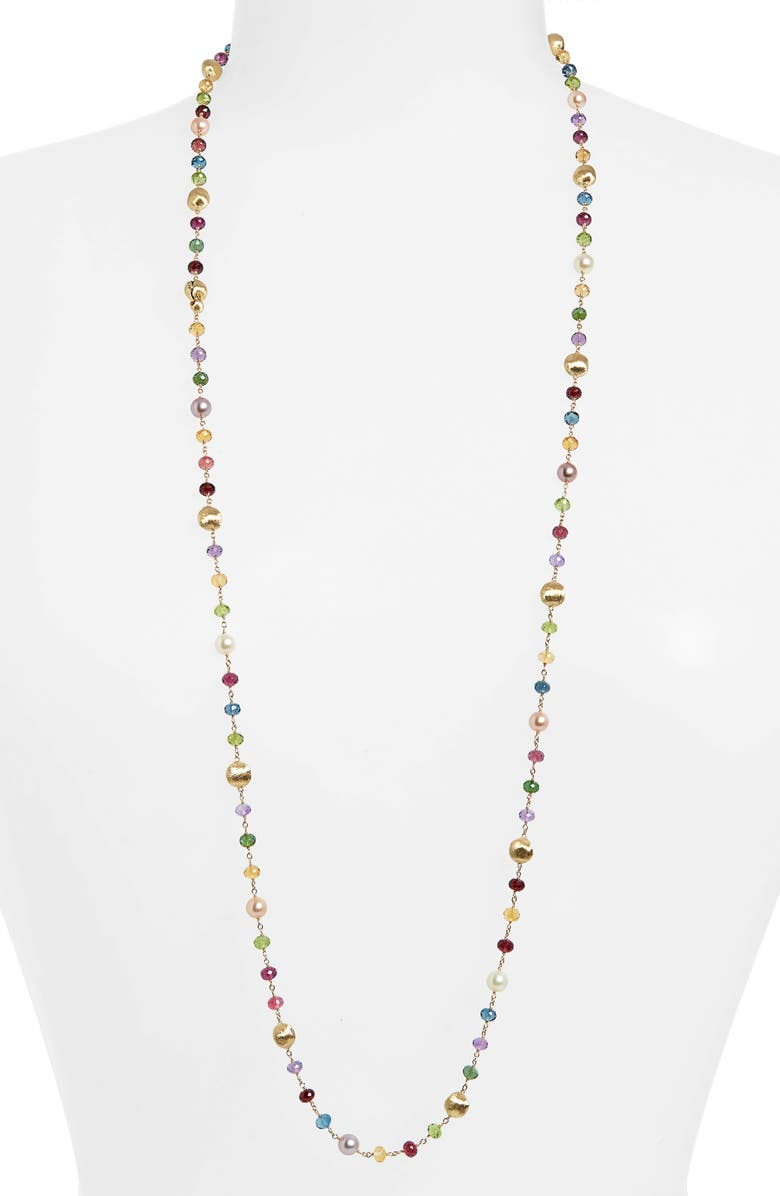 MARCO BICEGO Africa Semiprecious Stone & Pearl Long Necklace, Main, color, YELLOW GOLD/ MULTI