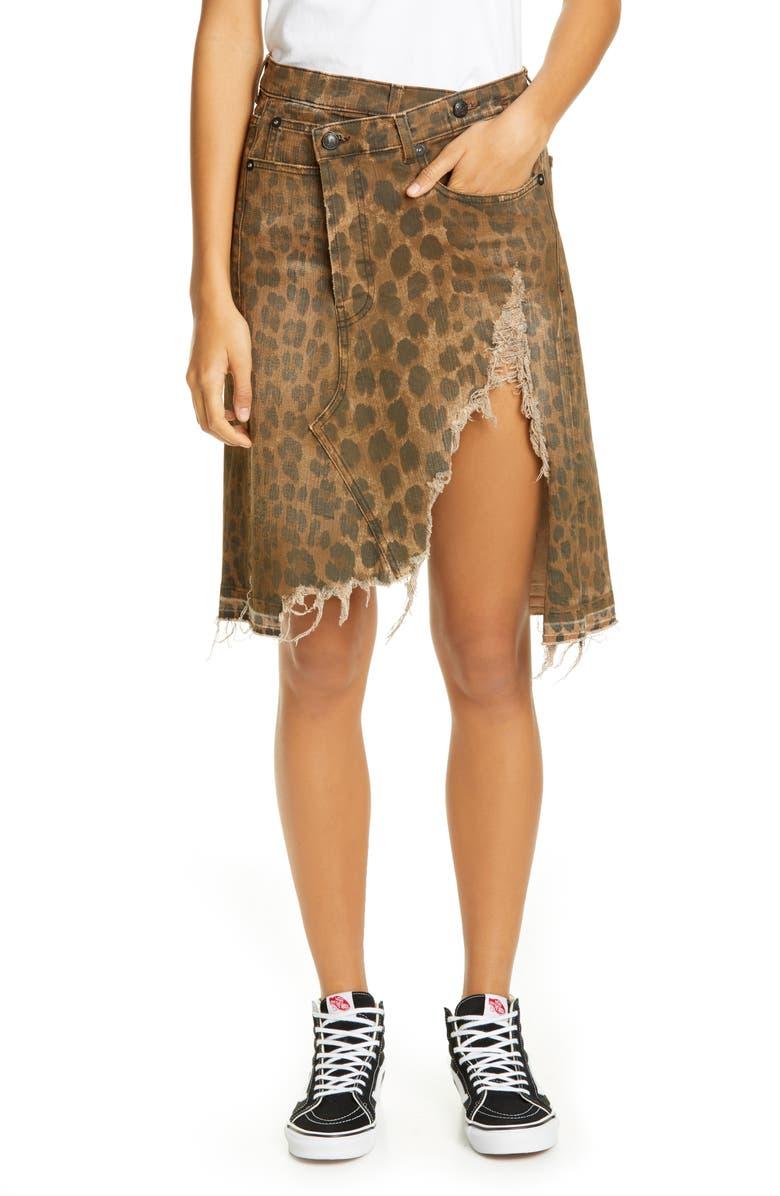 R13 Leopard Print Distressed Crossover Denim Skirt, Main, color, 242