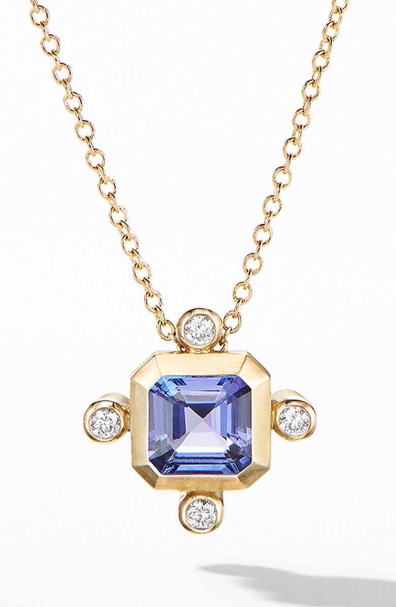 DAVID YURMAN Novella Pendant Necklace in 18K Yellow Gold with Diamonds, Main, color, GOLD/ TANZANITE
