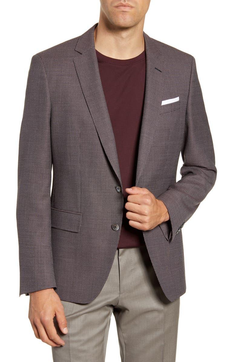 BOSS Hutson Trim Fit Solid Wool Sport Coat, Main, color, 560