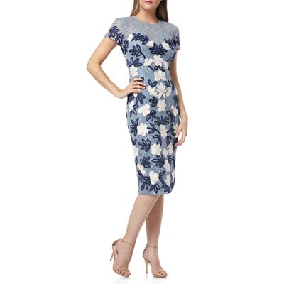Js Collections Floral Two-Tone Embroidered Dress, Blue