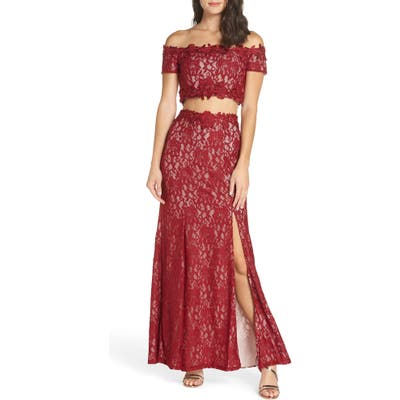 Sequin Hearts Two-Piece Off The Shoulder Lace Gown, Burgundy