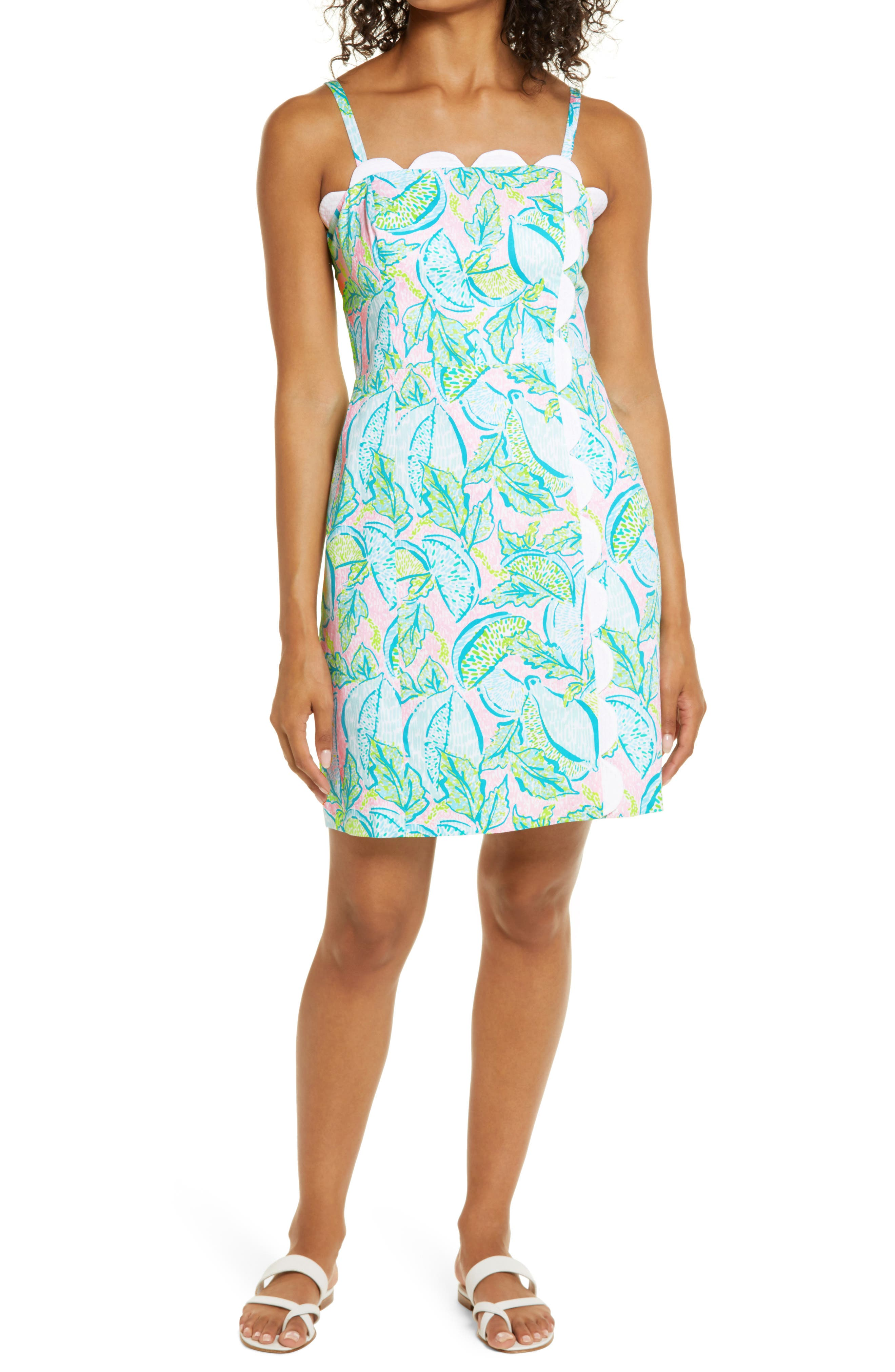 Scalloped detailing highlights the neckline of a short sheath dress in a pretty botanical print. Style Name: Lilly Pulitzer Mercede Minidress. Style Number: 6082621. Available in stores.