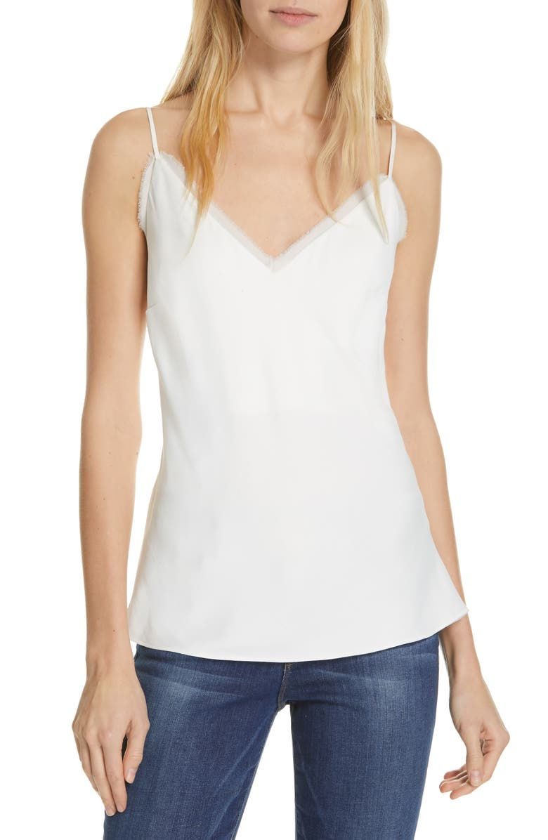 FRAME Fray Edge Satin Camisole, Main, color, OFF WHITE