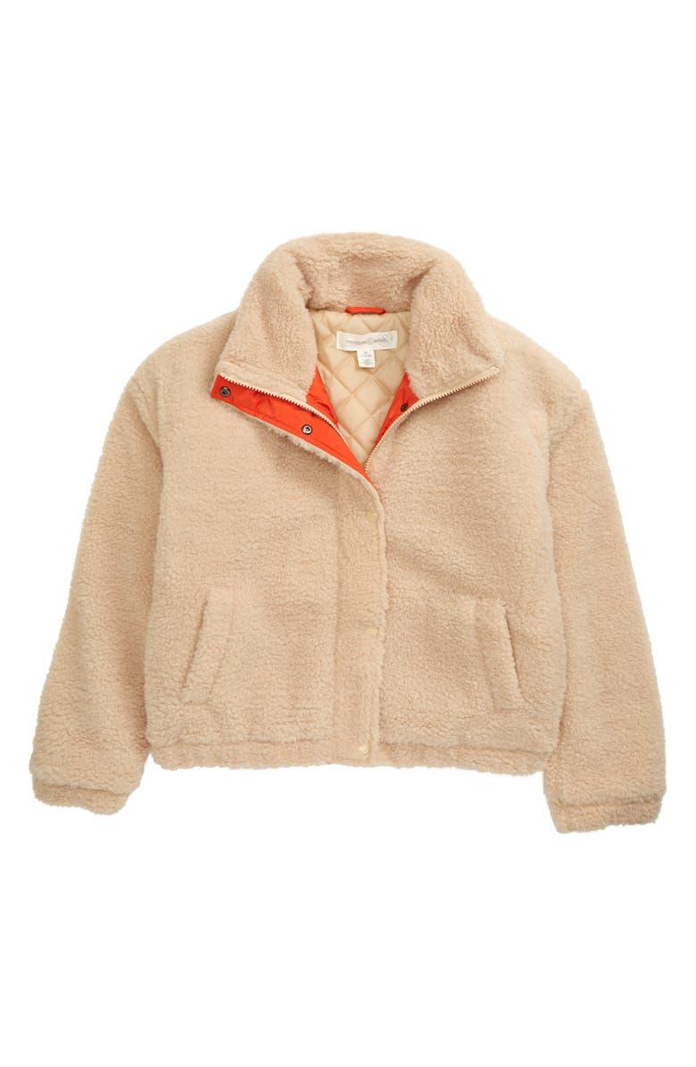TREASURE & BOND Faux Shearling Teddy Cozy Jacket, Main, color, BEIGE SEMOLINA