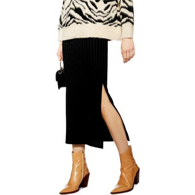 Topshop Ribbed Midi Skirt, US (fits like 0-2) - Black