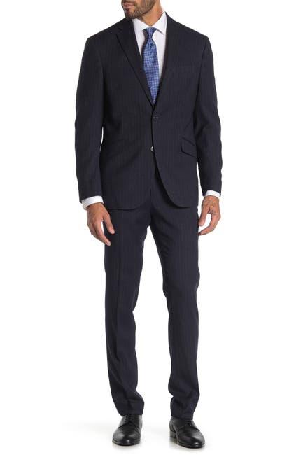 Image of Kenneth Cole Reaction Pinstripe Navy Two Button Notch Lapel Trim Fit Suit