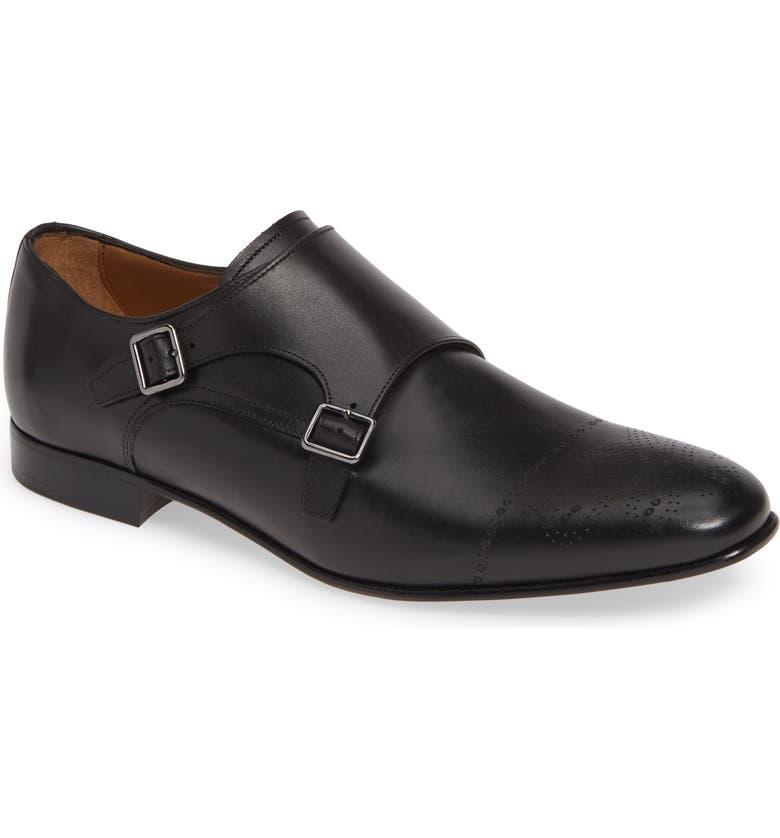 BOSS Newport Double Monk Strap Shoe, Main, color, BLACK LEATHER