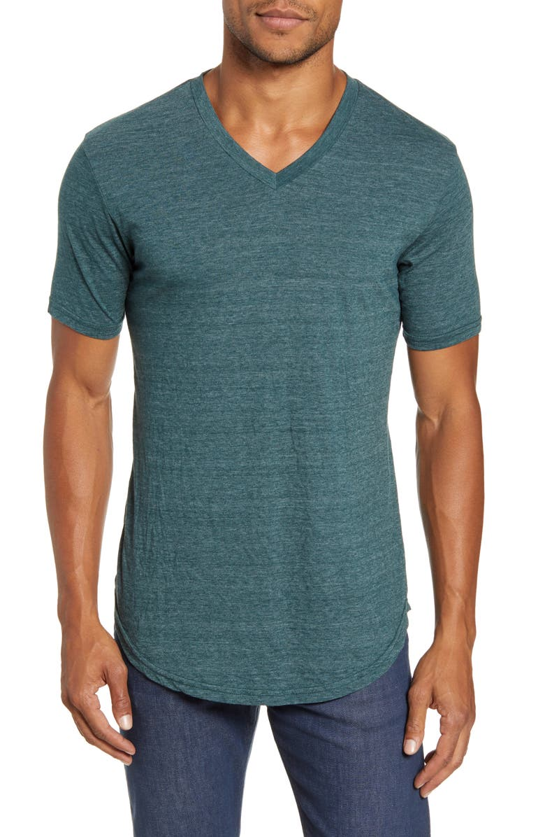 GOODLIFE Scallop Triblend V-Neck T-Shirt, Main, color, JUNGLE GREEN