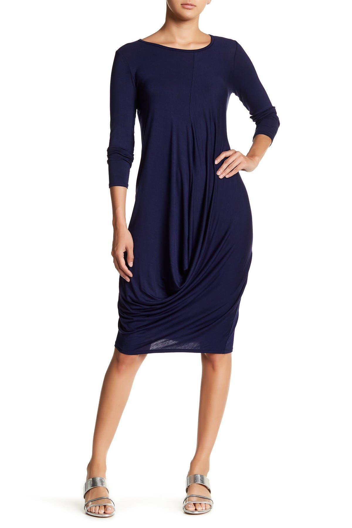 Image of Go Couture Drape Long Sleeve Dress
