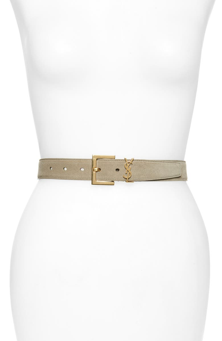 SAINT LAURENT YSL Cintura Suede Belt, Main, color, LIGHT GREGE