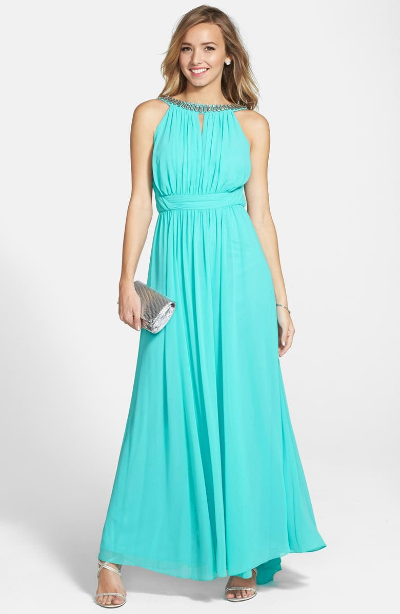 LAUNDRY BY SHELLI SEGAL Embellished Open Back Chiffon Gown, Main, color, 400