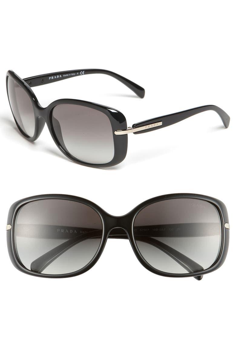 PRADA 57mm Rectangular Sunglasses, Main, color, BLACK/ GREY GRADIENT