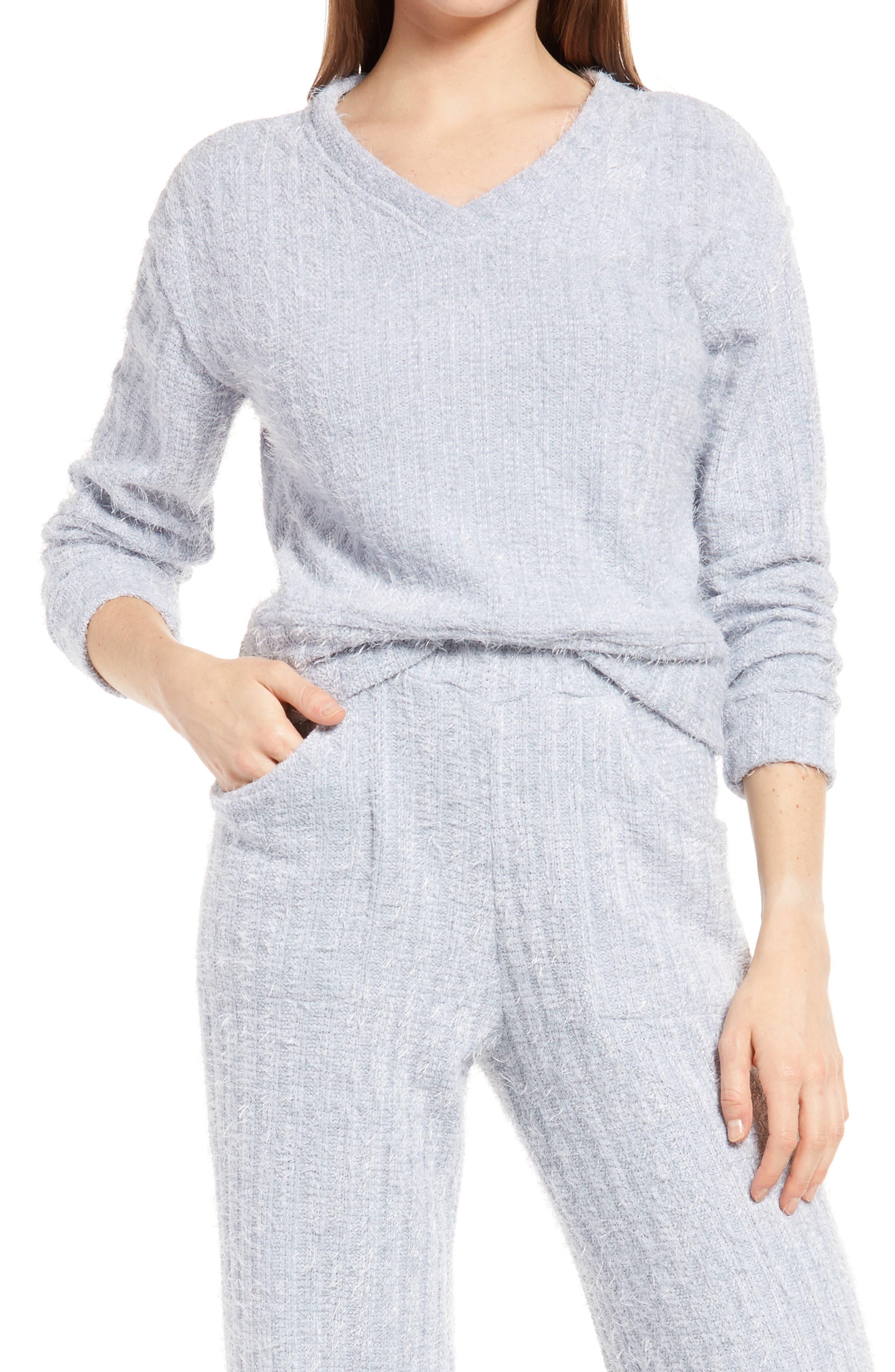 Women's Kendall + Kylie V-Neck Eyelash Sweater