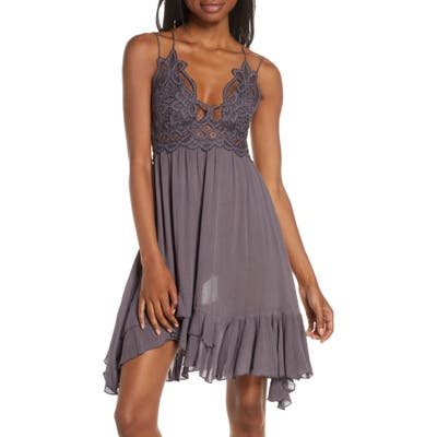Free People Intimately Fp Adella Frilled Chemise, Grey