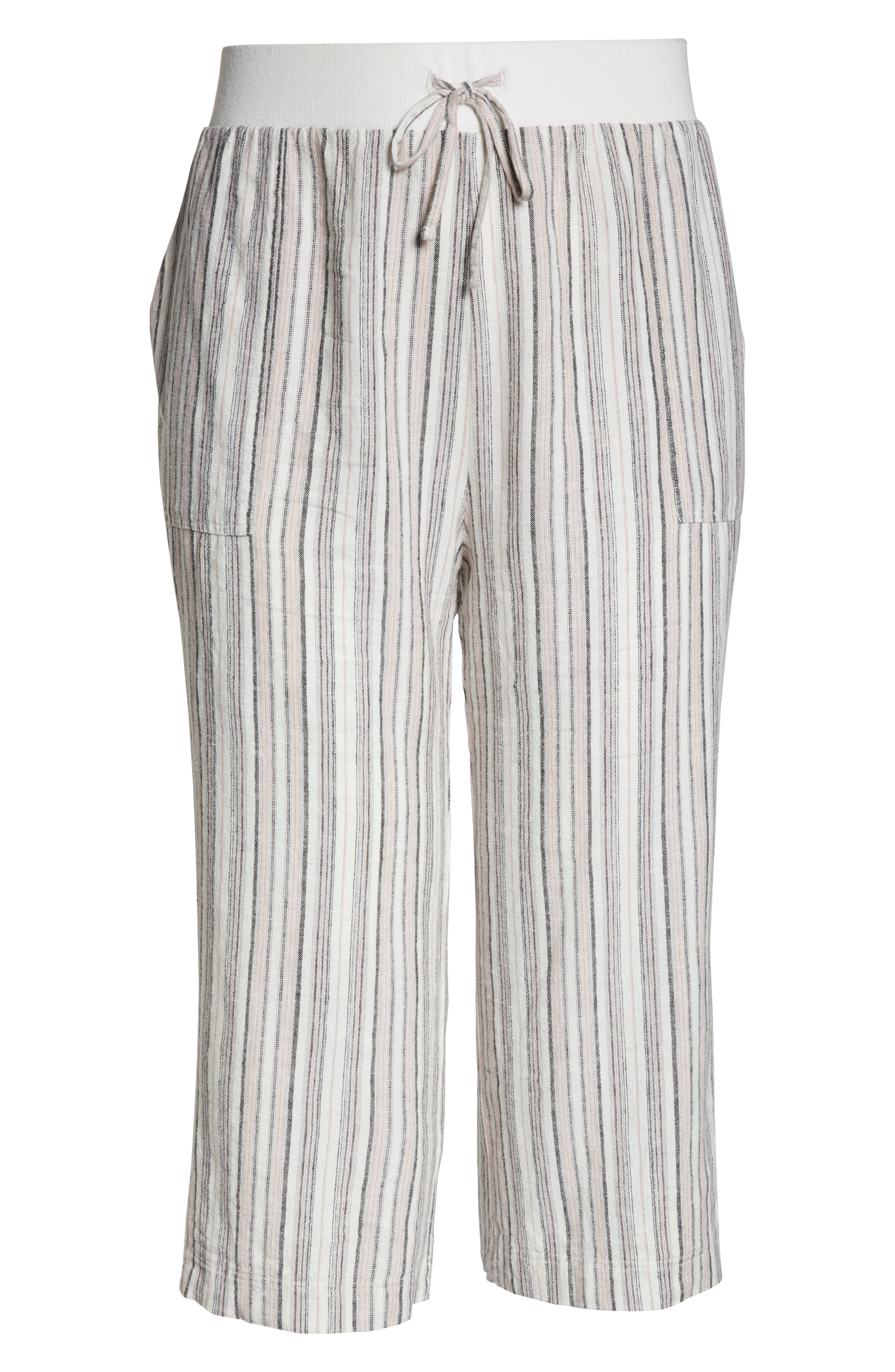 ,                             Stripe Crop Linen Blend Pants,                             Alternate thumbnail 25, color,                             680
