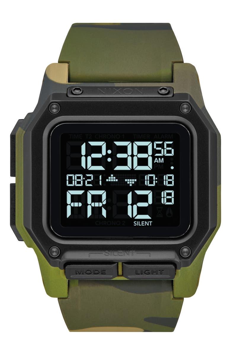 NIXON Regulus Digital Watch, 46mm, Main, color, GREEN CAMO/ BLACK