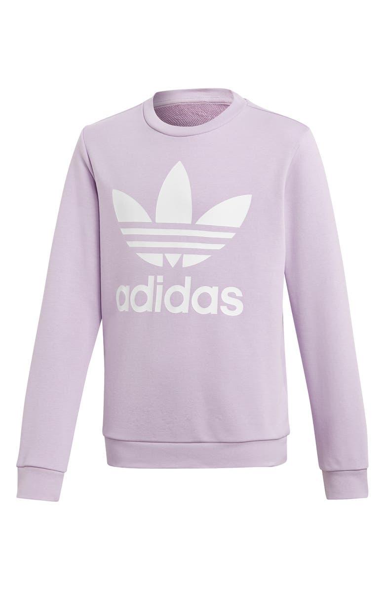 ADIDAS ORIGINALS Trefoil Logo Sweatshirt, Main, color, 535