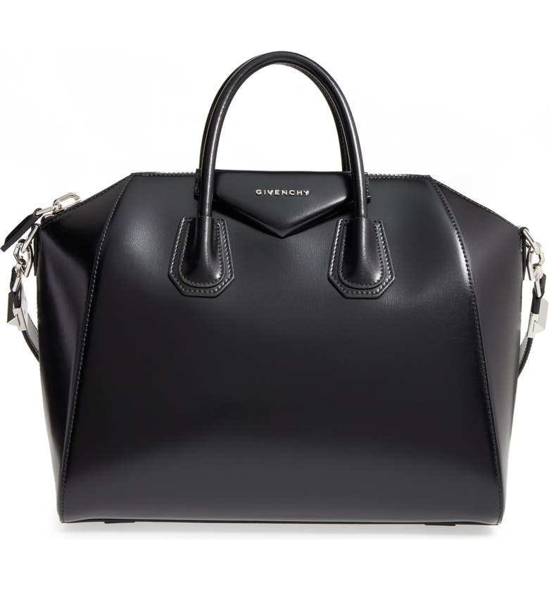GIVENCHY Medium Antigona Box Leather Satchel, Main, color, BLACK