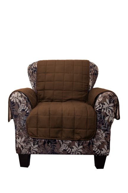 Image of Duck River Textile Joseph Flannel Reversible Waterproof Microfiber Chair Cover - Chocolate/Taupe