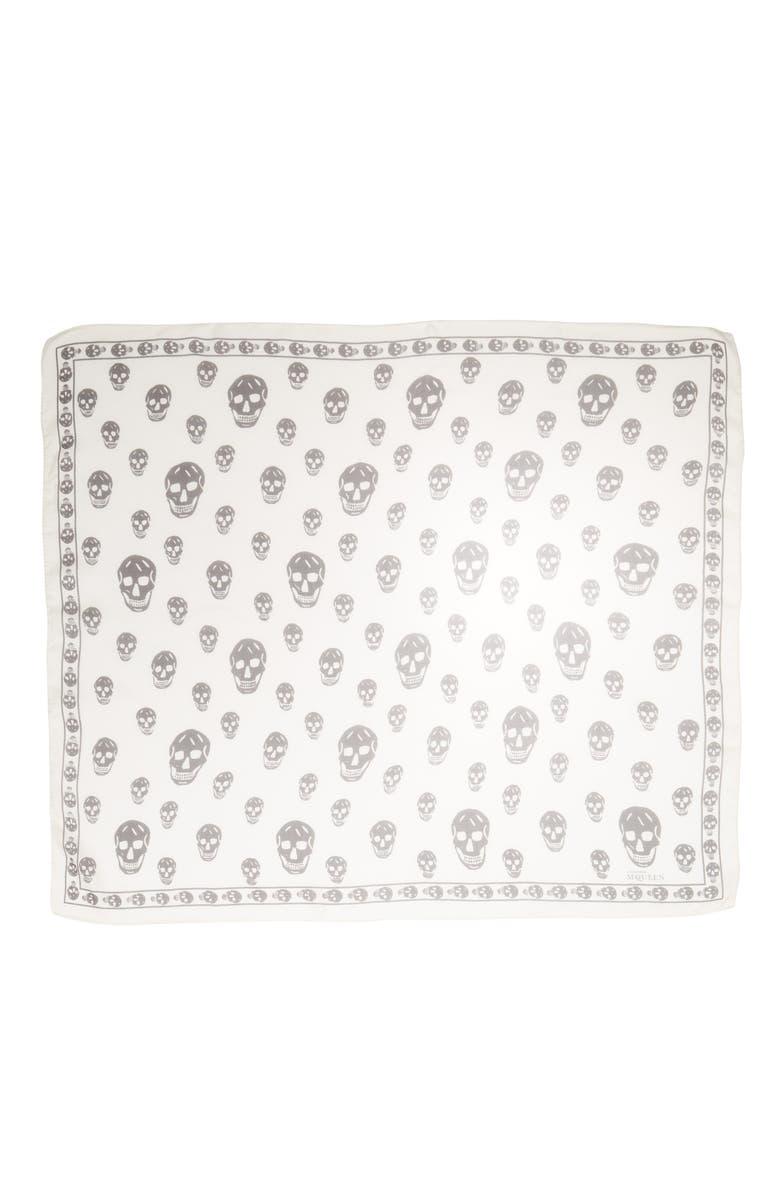ALEXANDER MCQUEEN Skull Foulard Silk Scarf, Main, color, IVORY/ BLACK
