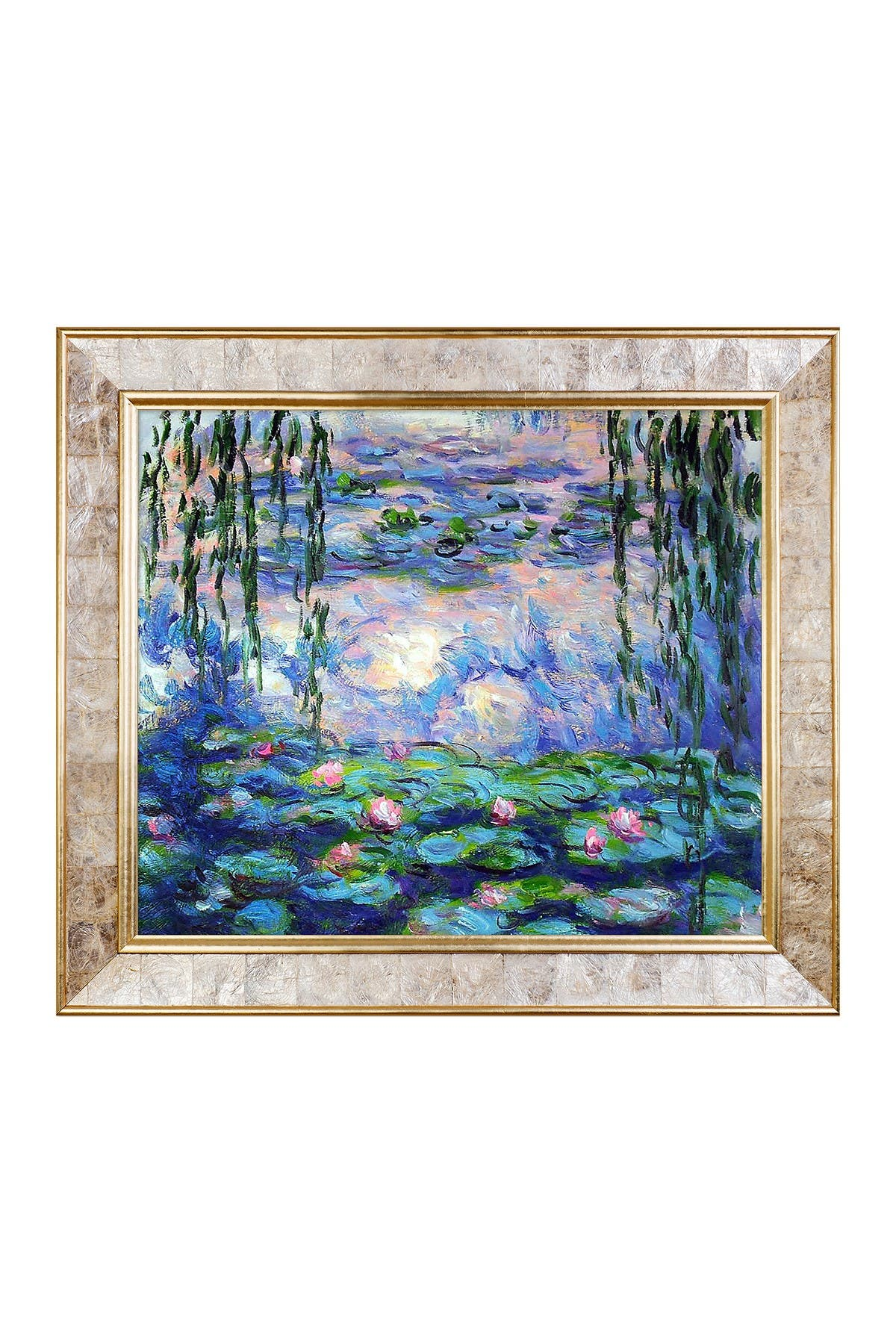 """Image of Overstock Art Water Lilies with Gold Pearl Frame, 26"""" x 30"""""""