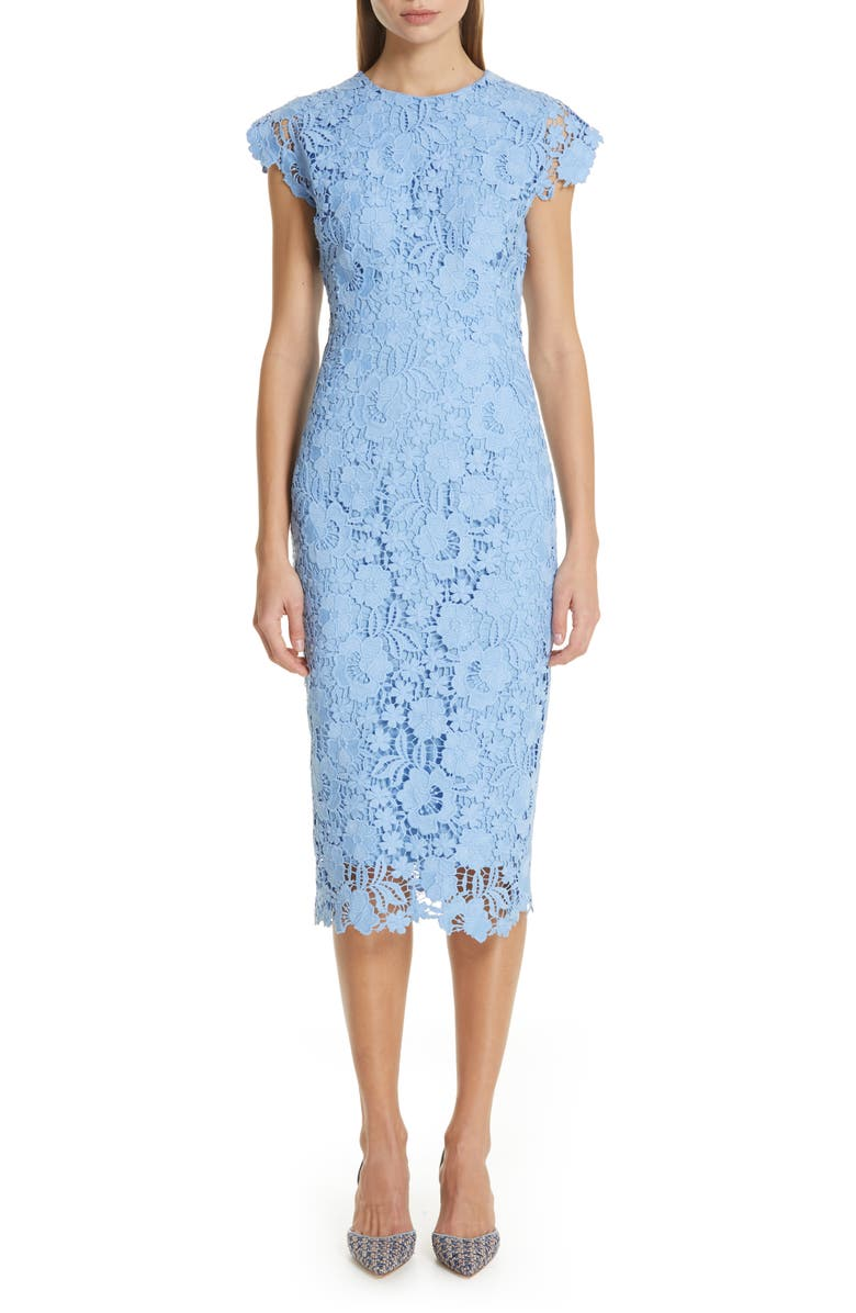 LELA ROSE Fitted Floral Guipure Lace Dress, Main, color, 400