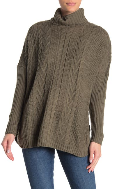 Image of JOSEPH A Boxy Turtleneck Cable Knit Pullover