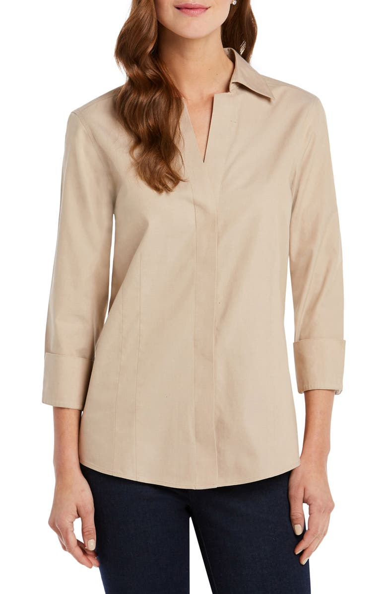 FOXCROFT Fitted Non-Iron Shirt, Main, color, ALMOND TART